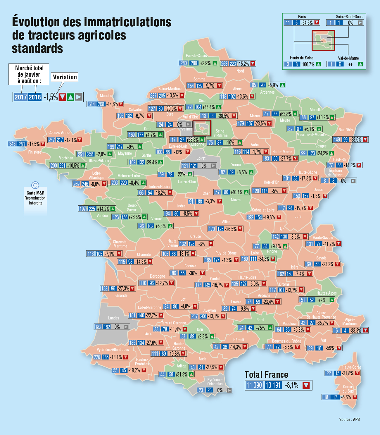 Carte des immatriculations de tracteurs agricoles standards en France d'aout 2018